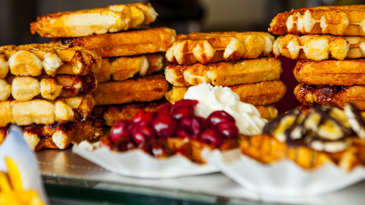 Selection on belgian waffles in Brussels