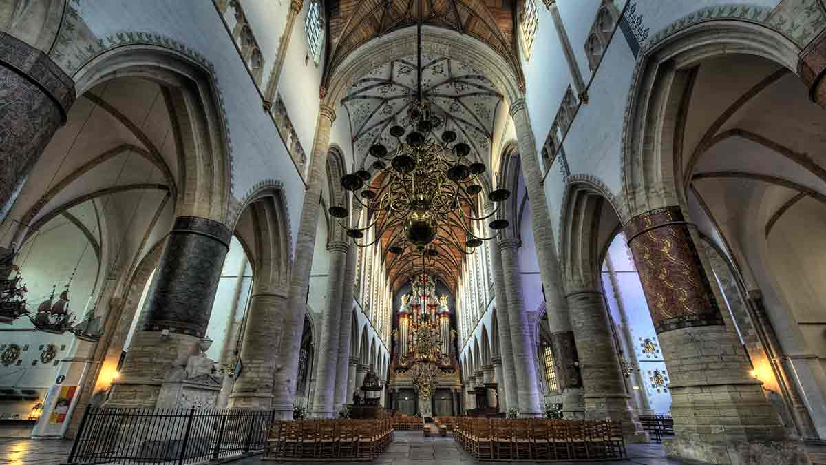 The interior of St Bavo Cathedral in Ghent
