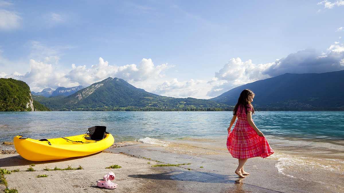 Kayaking at Lake Annecy, France