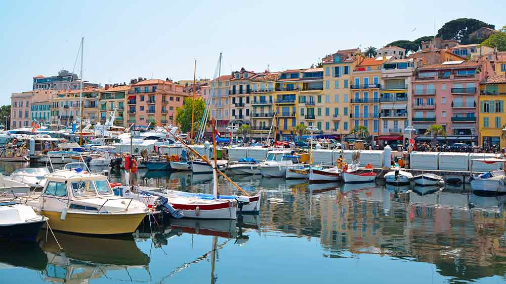 Boats in old port of Cannes in France