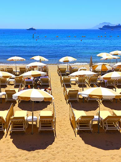 Sun Loungers at a Beach in Cannes