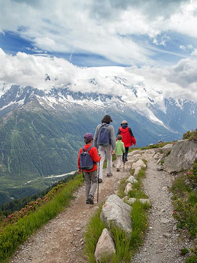 Family hiking in Chamonix French Alps