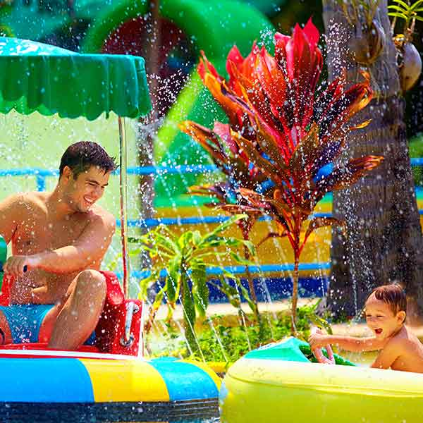 Father and son at a water park