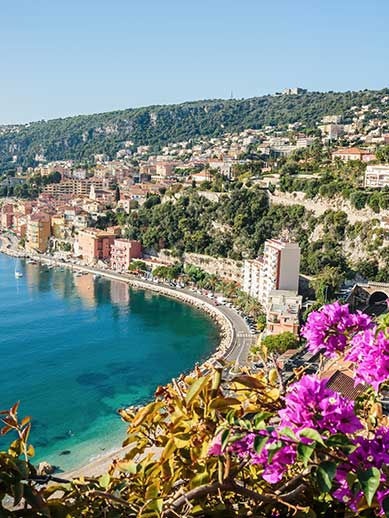 Beach seafront in Nice, France