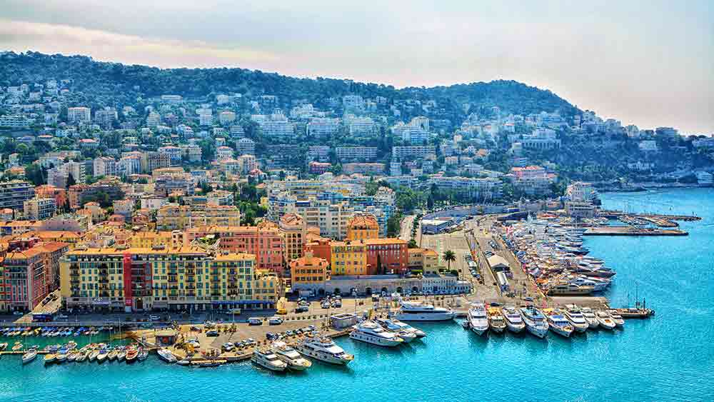 Nice habour seafront in France
