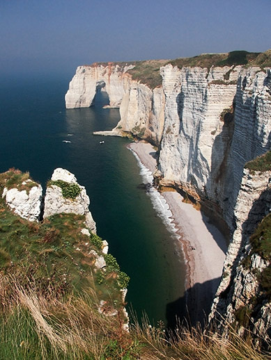 Cliffs on the coast in Normandy, France