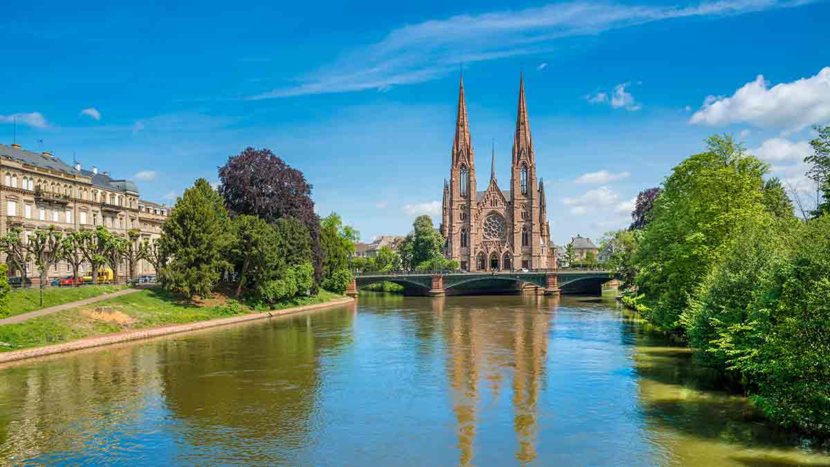 St Pauls Church by the river in Strasbourg