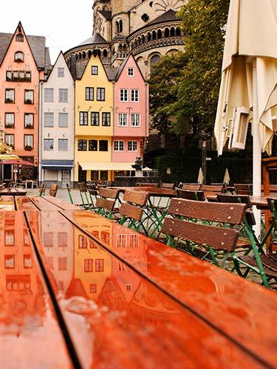 Wooden bench in frankfurt, Germany