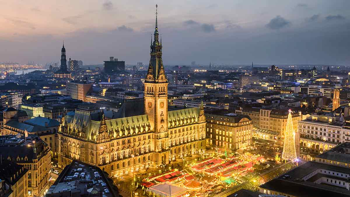 Aerial view City Hall in Hamburg, Germany