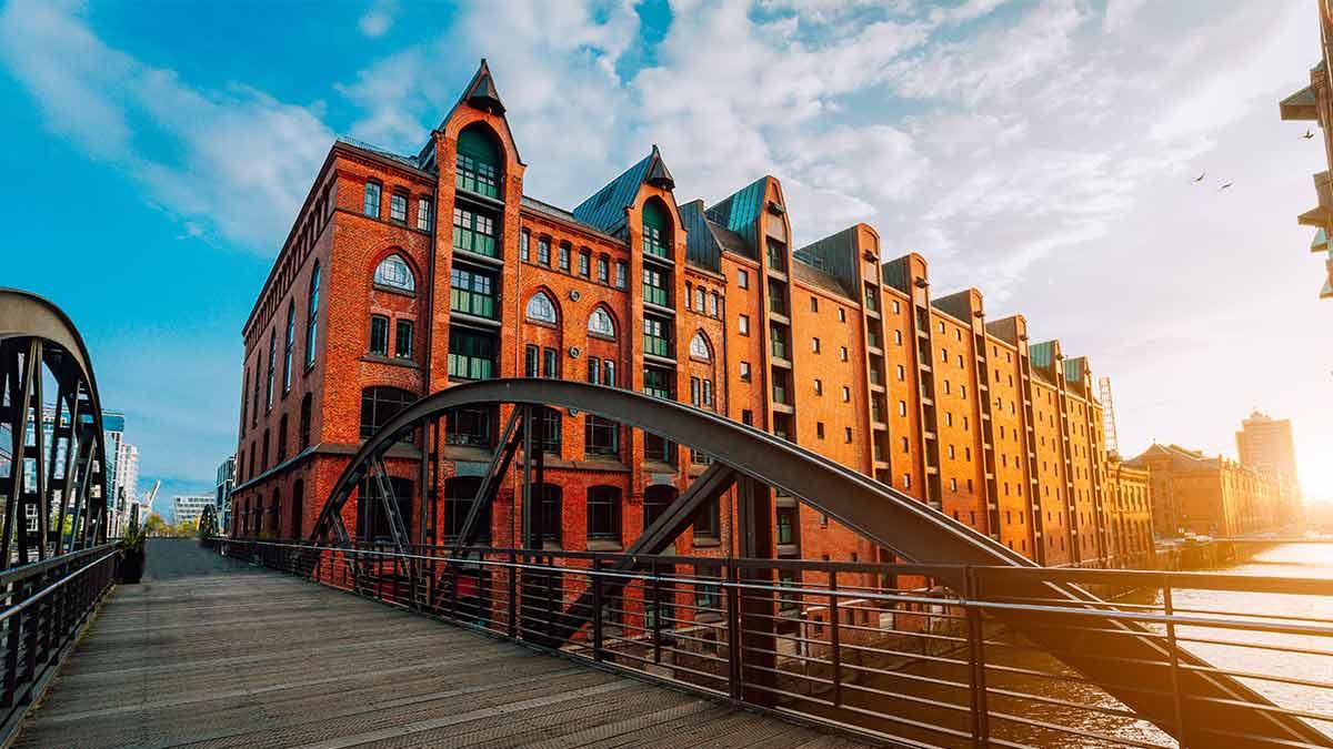 Speicherstadt warehouse district bridge in Hamburg, Germany