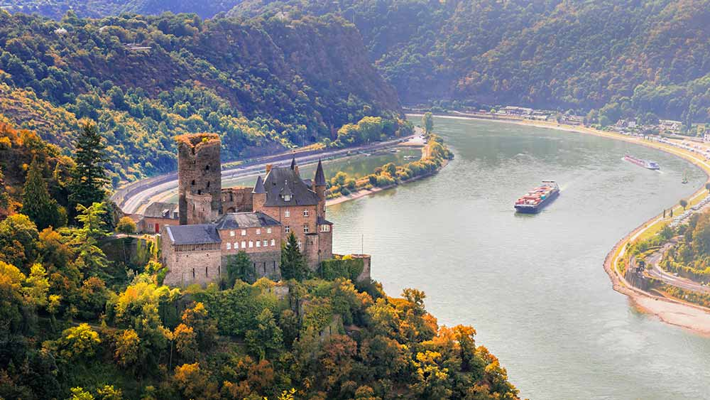 Katz Castle in Goarshhausen Rhine Valley, Germany