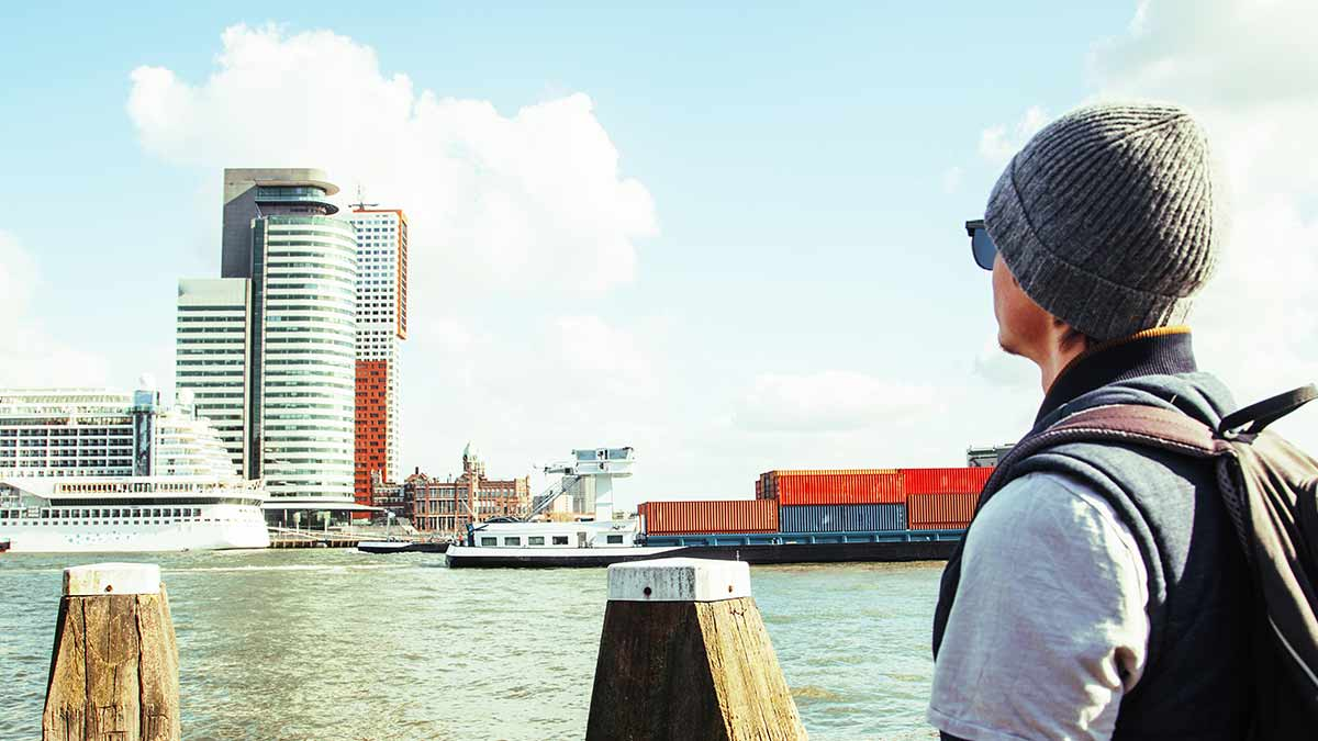 Rotterdam port and boats