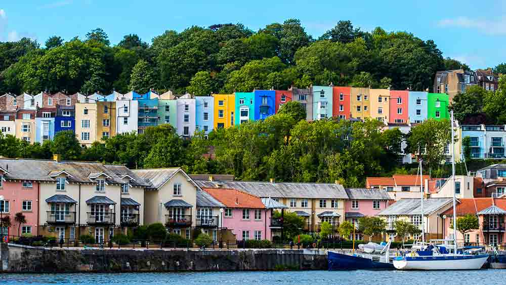 Colourful houses at the waterfront in Bristol