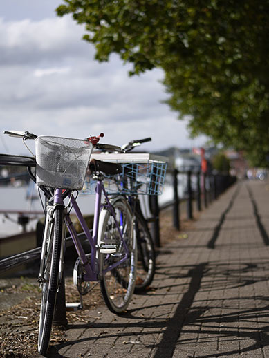 Cycling by the river in Bristol, England