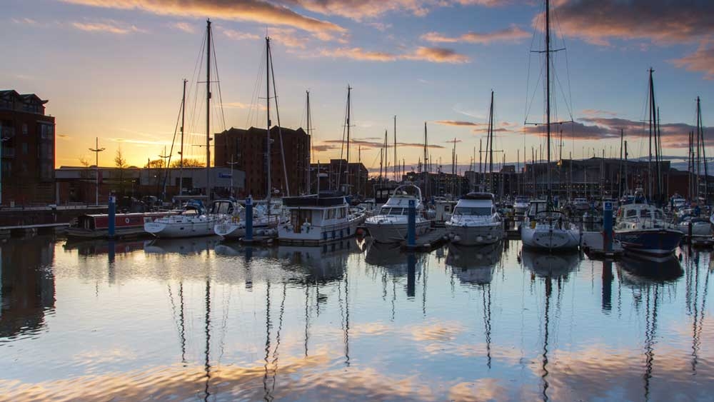 Hull city dock in England
