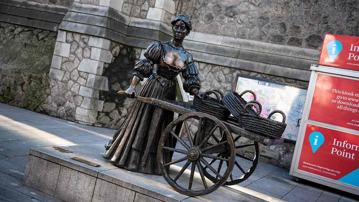 Molly Malone standbeeld in Dublin