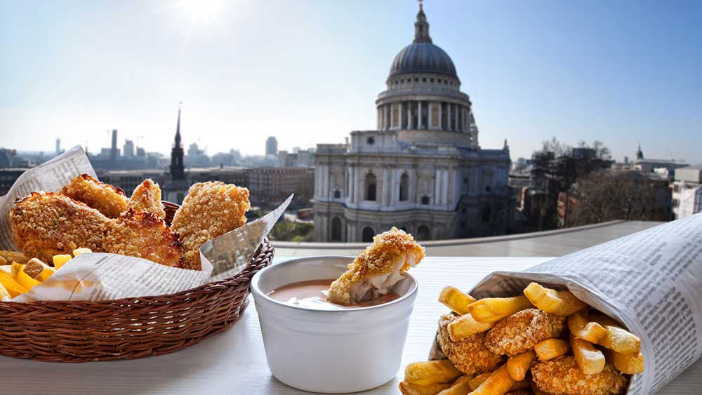 Fish and chips at St Pauls Cathedral in London