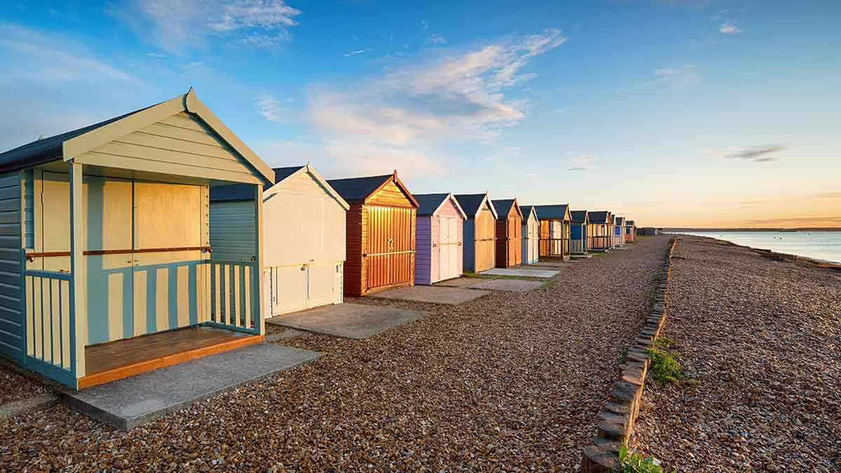 Beach huts in New Forest Hampshire