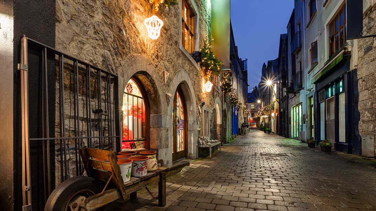 Galway cobbled street at night