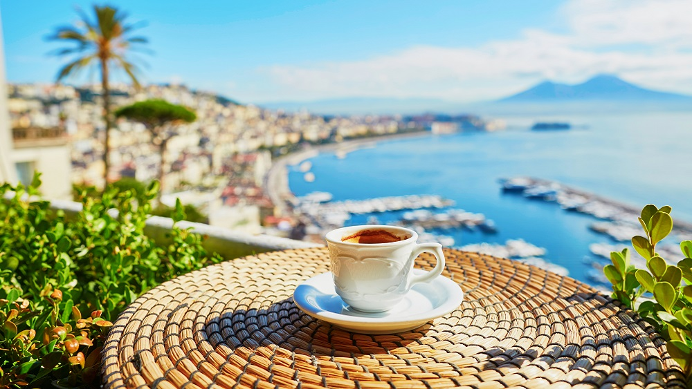 View of Naples with a coffee