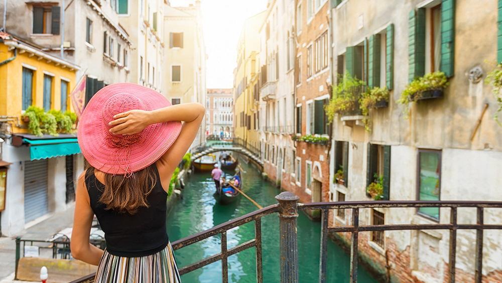 Tourist in Venice, Italy
