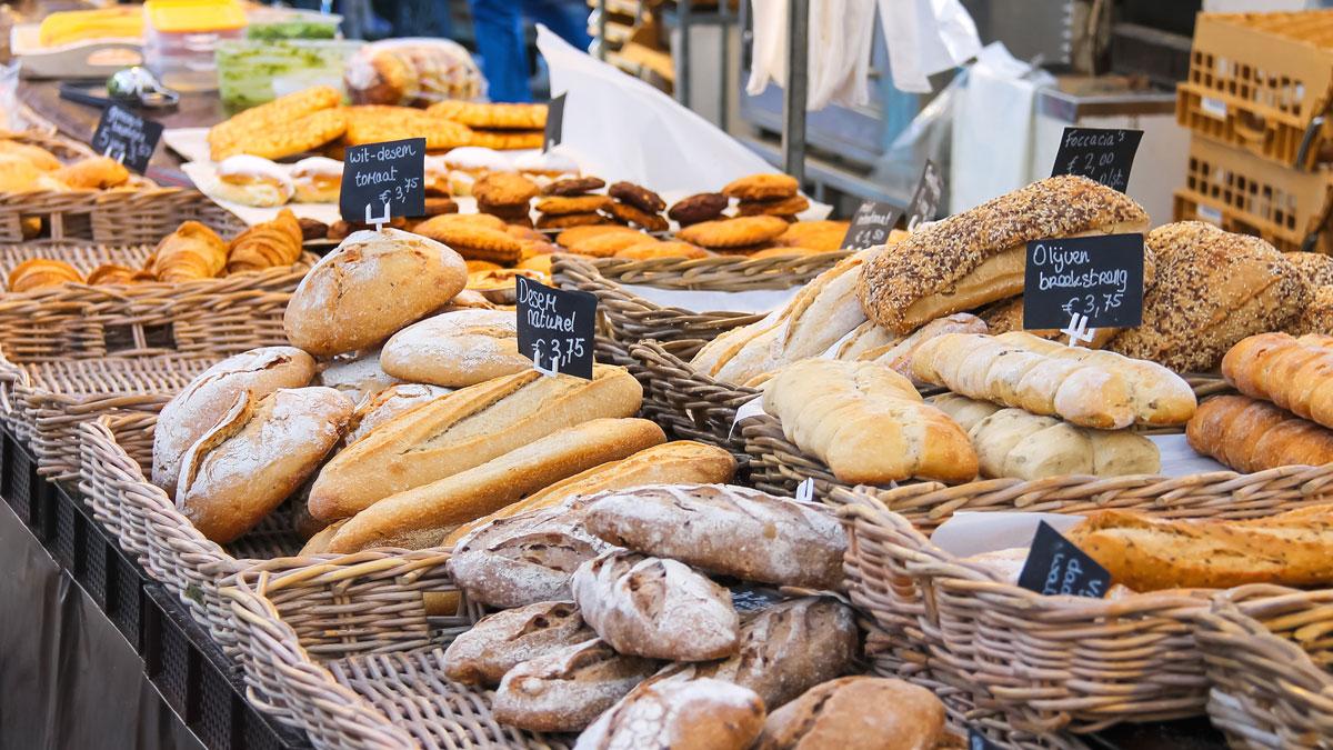 Dutch market selling bread
