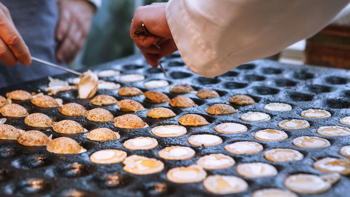 Dutch waffles being made