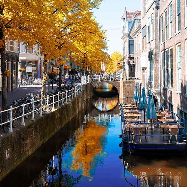 Canal bridge in Delft, Holland
