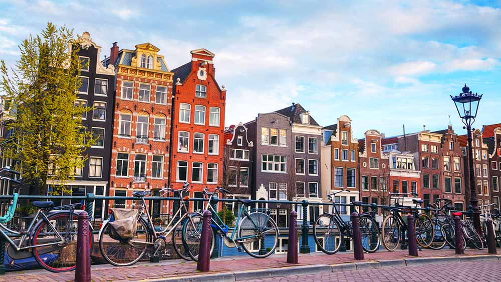 Bikes lining the streets of Amsterdam in the Netherlands