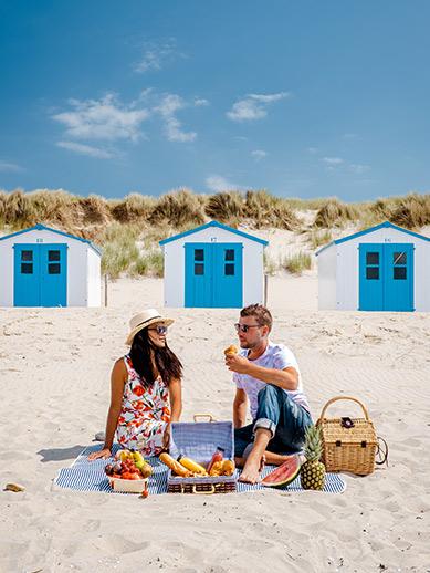 Couple enjoying a picnic in Texel
