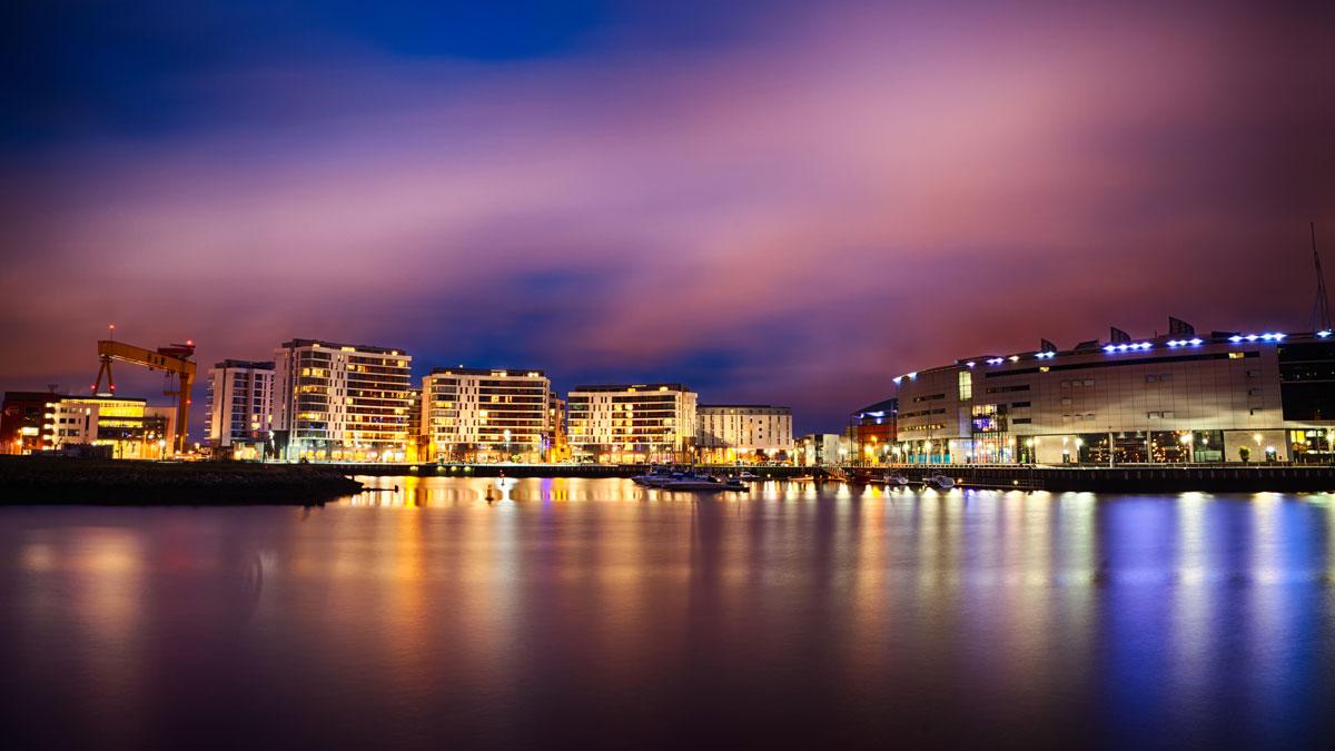 Belfast city night scene