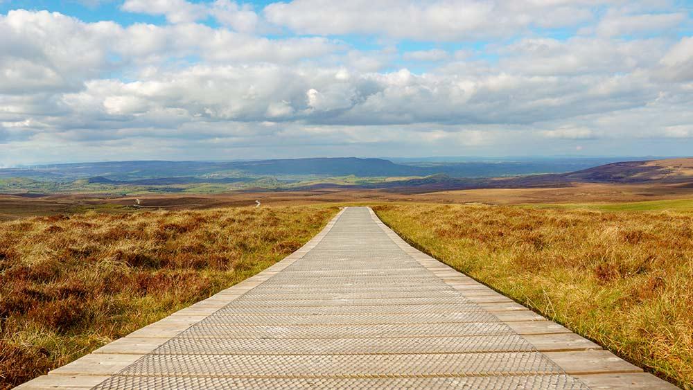 Spaziergang im Cuilcagh Mountain Park in der Grafschaft Fermanagh