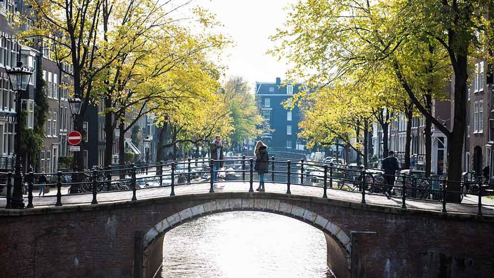 Canal bridge in Amsterdam, Holland