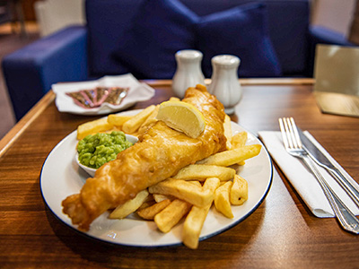 Fish and Chips in Club Lounge P&O Ferries Cairnryan to Larne