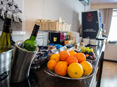Snacks and drinks in Club Lounge on P&O Ferries Carinryan to Larne ship