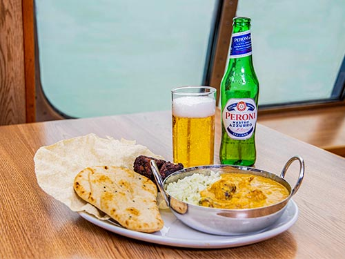 Curry and beer in P&O Ferries Food Court