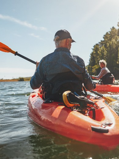 Mature couple on a kayaking holiday