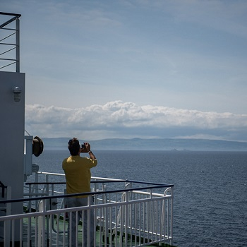 Outside deck on a P&O ferry to Scotland
