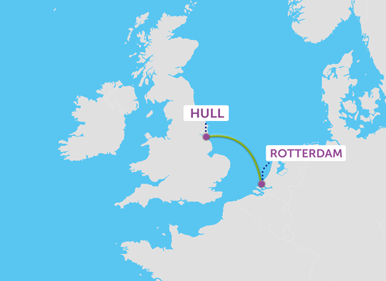 Veerboten tussen Rotterdam en Hull